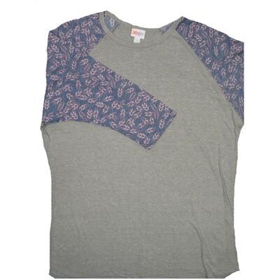 LuLaRoe RANDY XX-Large Gray with Purple Pink Raglan Sleeve Unisex Baseball Tee Shirt - XXL fits22-24