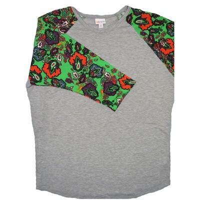 LuLaRoe RANDY XX-Large Gray with Lime Green Red Lavender Paisley Raglan Sleeve Unisex Baseball Tee Shirt - XXL fits22-24