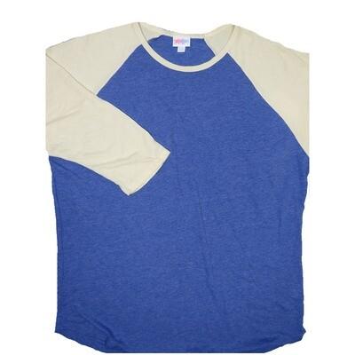 LuLaRoe RANDY XX-Large Heathered Blue with Light Yellow Raglan Sleeve Unisex Baseball Tee Shirt - XXL fits22-24