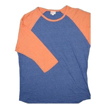 LuLaRoe RANDY XX-Large Heathered Blue with Pink Raglan Sleeve Unisex Baseball Tee Shirt - XXL fits22-24