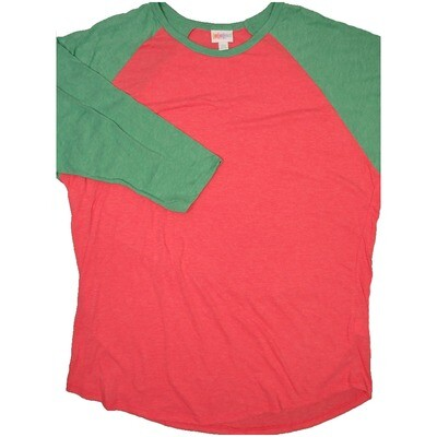 LuLaRoe RANDY XX-Large Heathered Light Red with Watermelon Raglan Sleeve Unisex Baseball Tee Shirt - XXL fits22-24