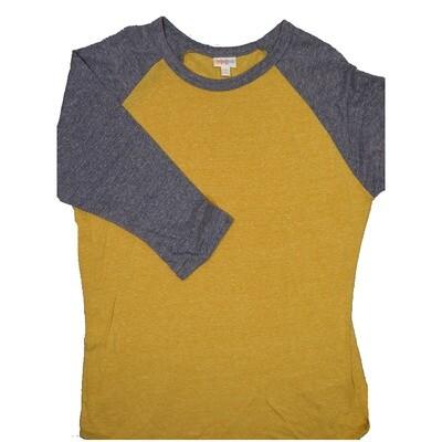 LuLaRoe RANDY XX-Large Heathered Mustard Yellow with Gray Raglan Sleeve Unisex Baseball Tee Shirt - XXL fits22-24