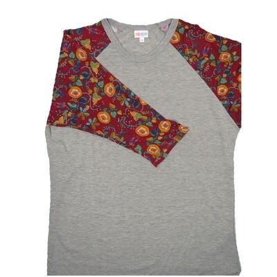 LuLaRoe RANDY XX-Large Light Gray with Maroon Turquoise Gold Floral Raglan Sleeve Unisex Baseball Tee Shirt - XXL fits22-24