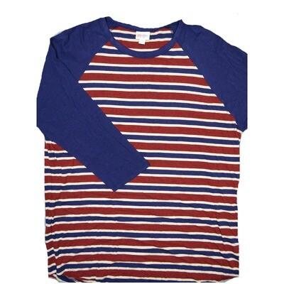 LuLaRoe RANDY XX-Large Maroon Cream Blue Stripe with Blue Raglan Sleeve Unisex Baseball Tee Shirt - XXL fits22-24