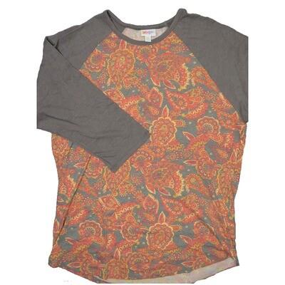 LuLaRoe RANDY XX-Large Paisley Gray Red with Gray Raglan Sleeve Unisex Baseball Tee Shirt - XXL fits22-24