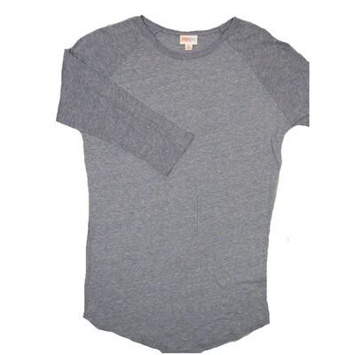 LuLaRoe RANDY X-Small Solid Light Heathred Purple Raglan Sleeve Unisex Baseball Tee Shirt - XS fits 2-4