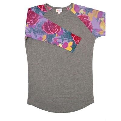LuLaRoe RANDY X-Small Gray with Purple Red Yellow Roses Raglan Sleeve Unisex Baseball Tee Shirt - XS fits 2-4