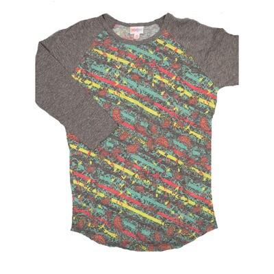 LuLaRoe RANDY X-Small Paisley Gray Yellow Red Geometric with Gray Raglan Sleeve Unisex Baseball Tee Shirt - XS fits 2-4