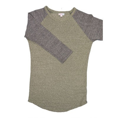 LuLaRoe RANDY XX-Small Heathered Olive with Gray Raglan Sleeve Raglan Sleeve Unisex Baseball Tee Shirt - XXS fits 00-0