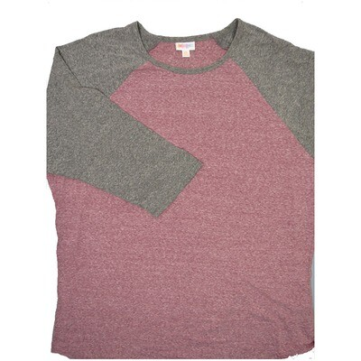 LuLaRoe RANDY XXX-Large Heathered Maroon with Gray Raglan Sleeve Unisex Baseball Tee Shirt - XXXL fits 24-26