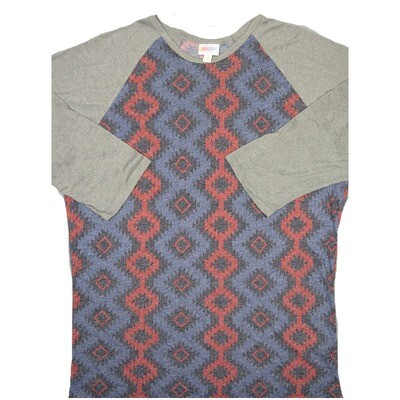 LuLaRoe RANDY XXX-Large Heathered Purple Red Gray Aztek Geometric with Gray Raglan Sleeve Unisex Baseball Tee Shirt - XXXL fits 24-26