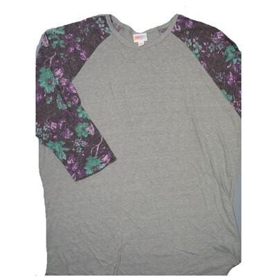 LuLaRoe RANDY XXX-Large Gray with Purple Green Gray Floral Raglan Sleeve Unisex Baseball Tee Shirt - XXXL fits 24-26