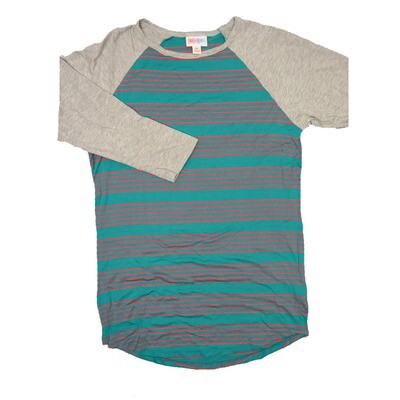 LuLaRoe RANDY X-Small Turquoise Pink Stripe with Gray Raglan Sleeve Unisex Baseball Tee Shirt - XS fits 2-4