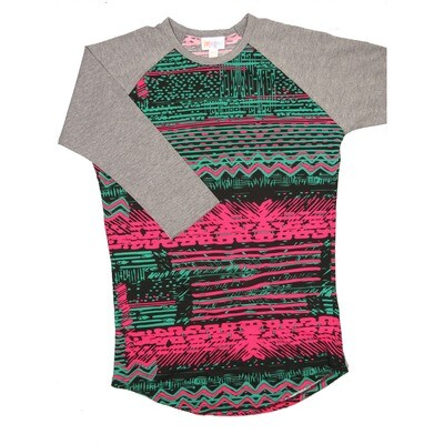 LuLaRoe RANDY XX-Small Fucshia Black Green with Gray Raglan Sleeve Unisex Baseball Tee Shirt - XXS fits 00-0