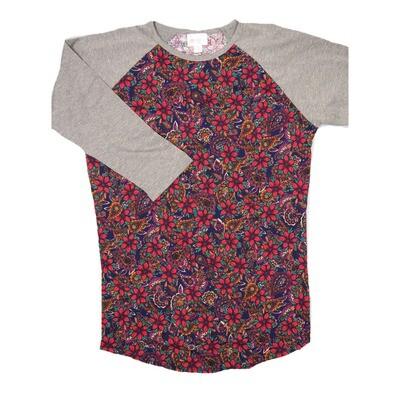 LuLaRoe RANDY X-Small Purple Red Paisley Floral with Gray Raglan Sleeve Unisex Baseball Tee Shirt - XS fits 2-4