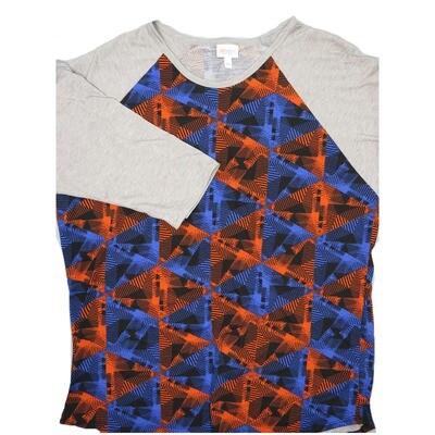 LuLaRoe RANDY XXX-Large Black Purple Orange Geometric with Gray Raglan Sleeve Unisex Baseball Tee Shirt - XXXL fits 24-26