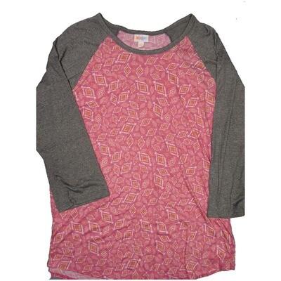 LuLaRoe RANDY XXX-Large Pink White Yellow Geometric with Gray Raglan Sleeve Unisex Baseball Tee Shirt - XXXL fits 24-26