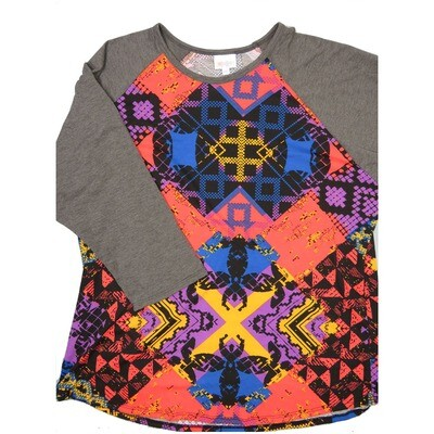 LuLaRoe RANDY XXX-Large Pink Orange Blue Gold Geometric with Dark Gray Raglan Sleeve Unisex Baseball Tee Shirt - XXXL fits 24-26