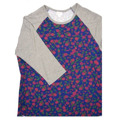 LuLaRoe RANDY XXX-Large dark Purple Green Pink Lotus Floral with Gray Raglan Sleeve Unisex Baseball Tee Shirt - XXXL fits 24-26