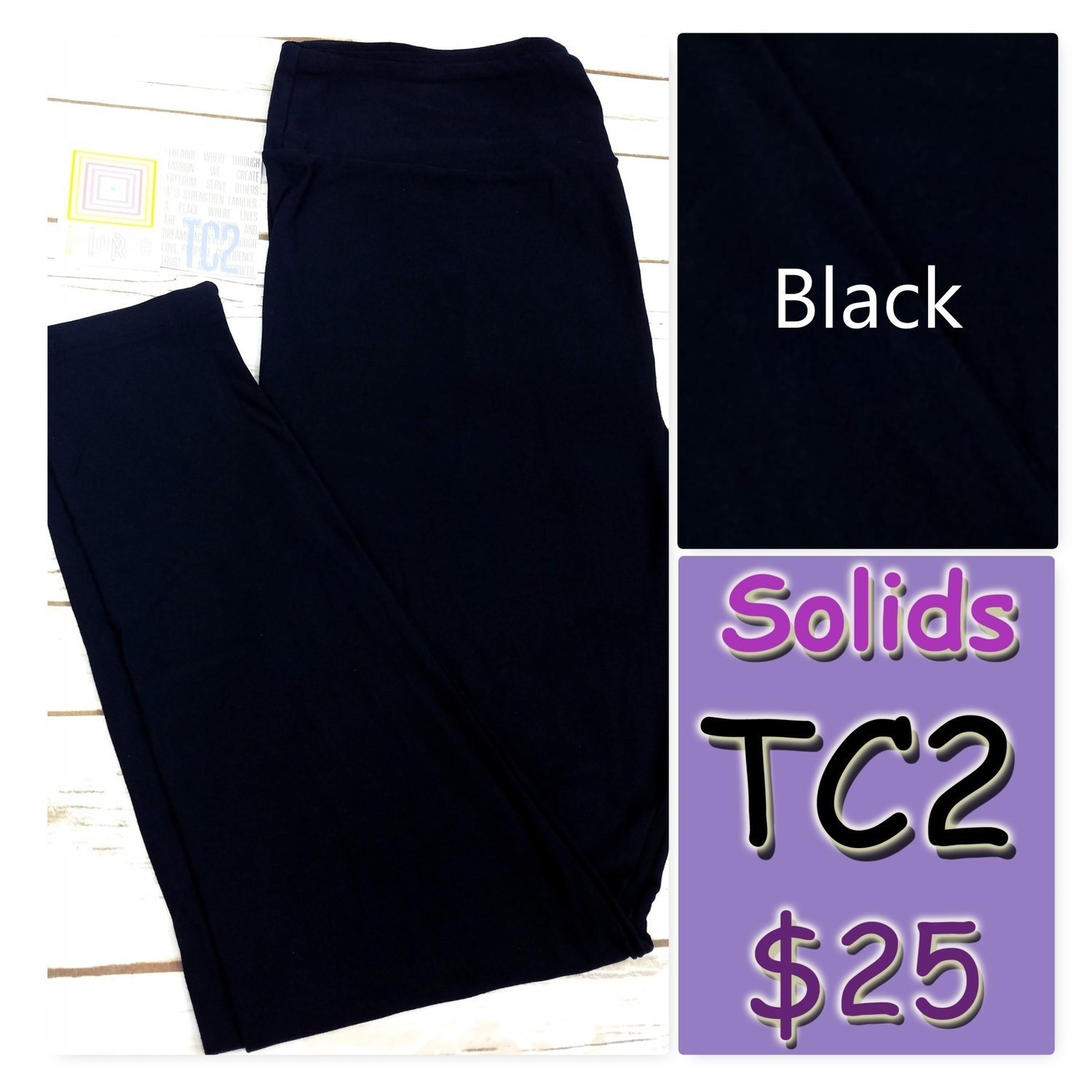 Tall Curvy Two (TC2) Solid Black LuLaRoe Leggings