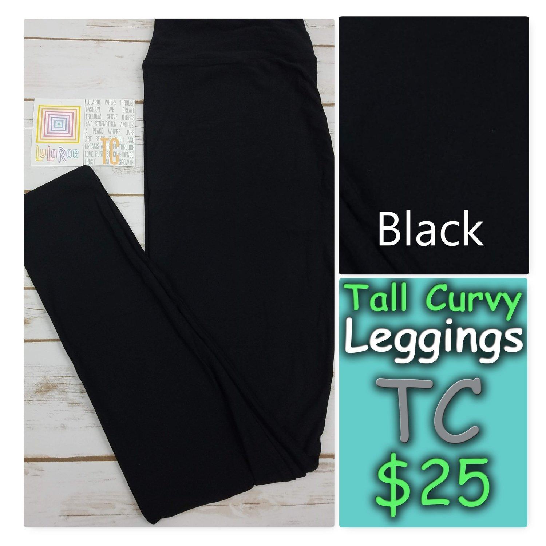 Tall Curvy (TC) Black Solid LuLaRoe Leggings