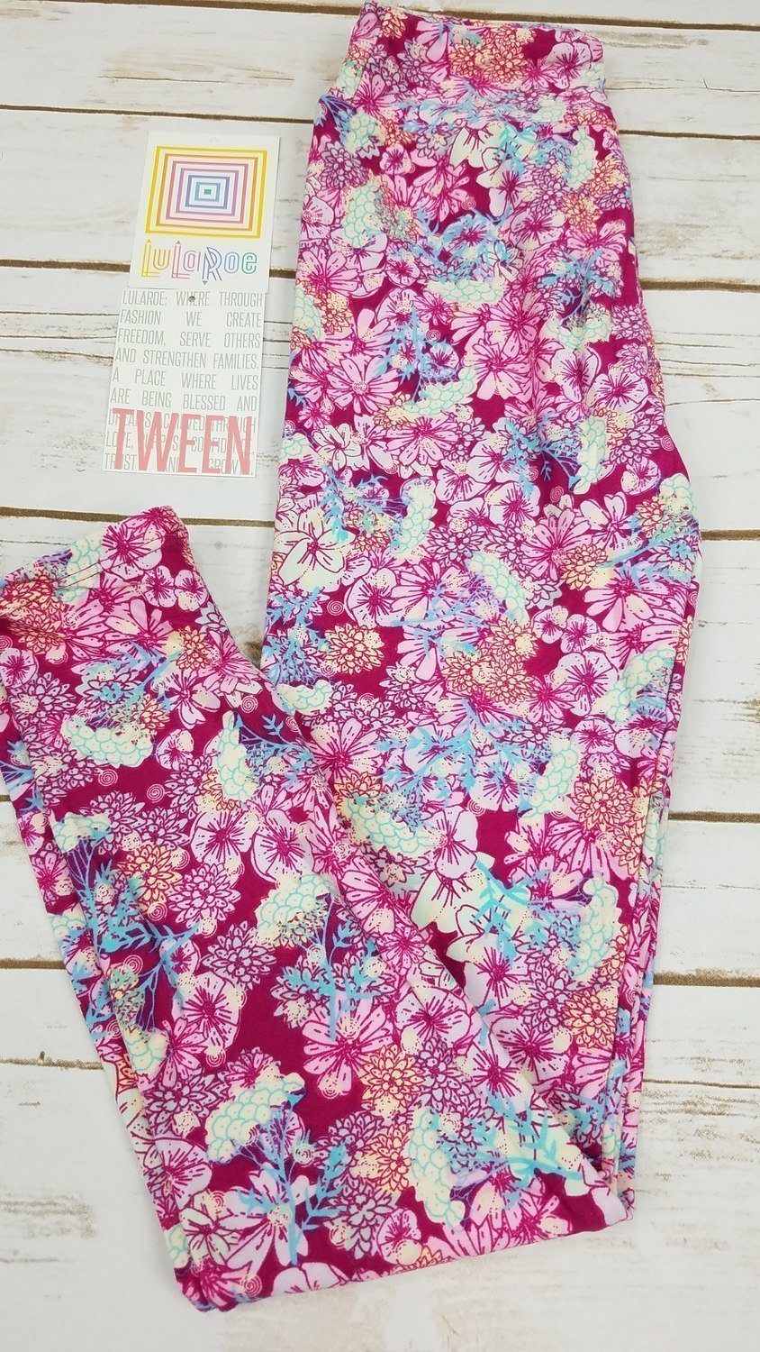 Leggings Kids Adult Tween (Tween)  Floral LuLaRoe Fits Adult Sizes 00-0
