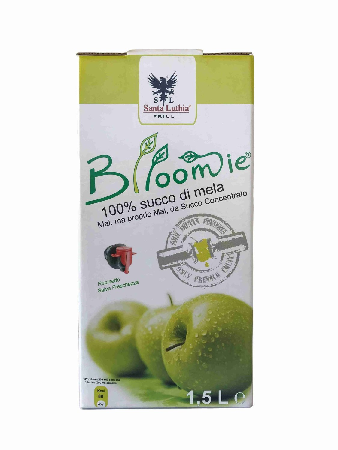 Blloomie® 100% Italian Apple Juice, mL 1500x8 Boxes (fl oz 50,72x8 Boxes)