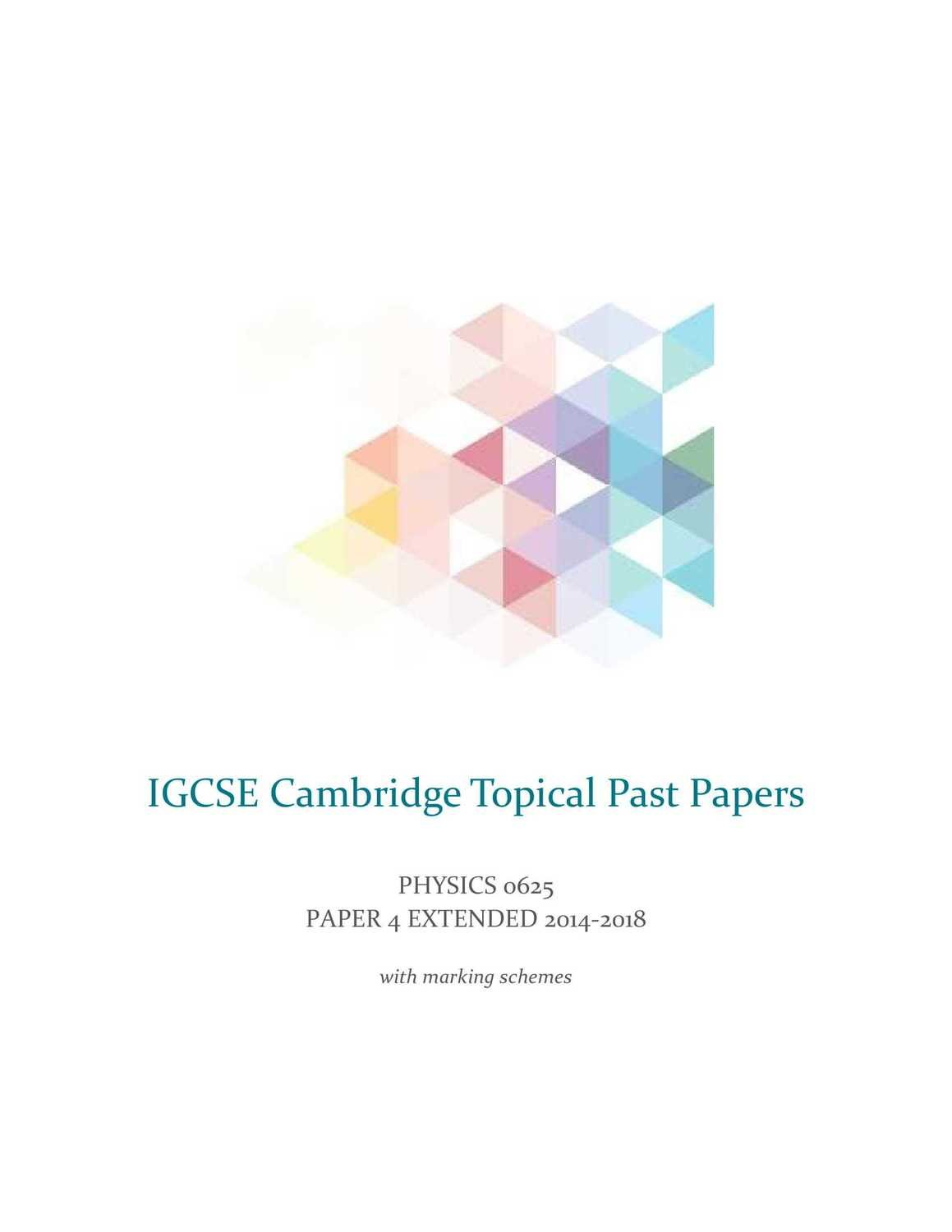 IGCSE Physics Cambridge 0625 Topical Past Year Questions