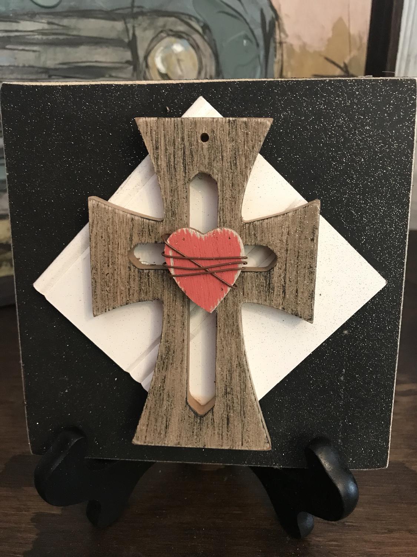 Wooden heart cross