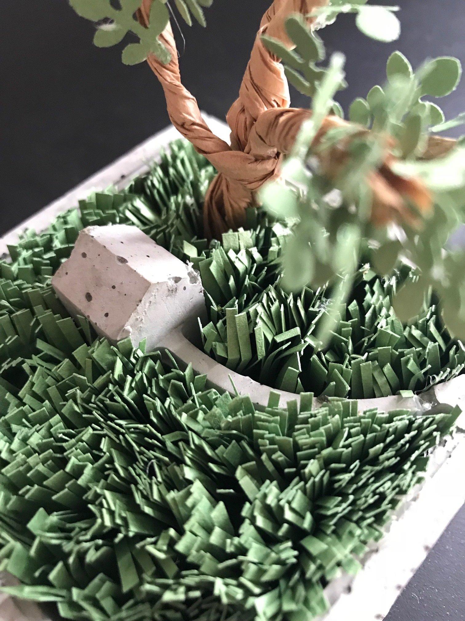 Atelier jardin miniature béton et papier