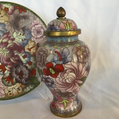 Lot: Rose Famille Cloisonne Plate and Jar #345/8B