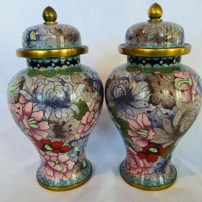 Lot: Matching Rose Famille Jars #345/2-