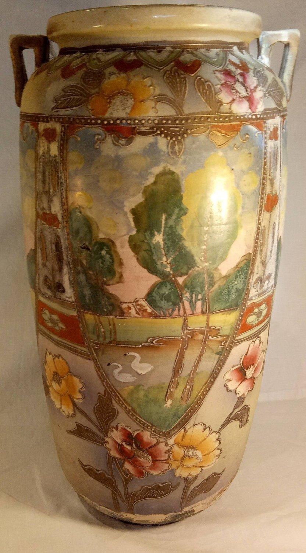 Large Japanese 1910 Hand Painted Vase ##14-162