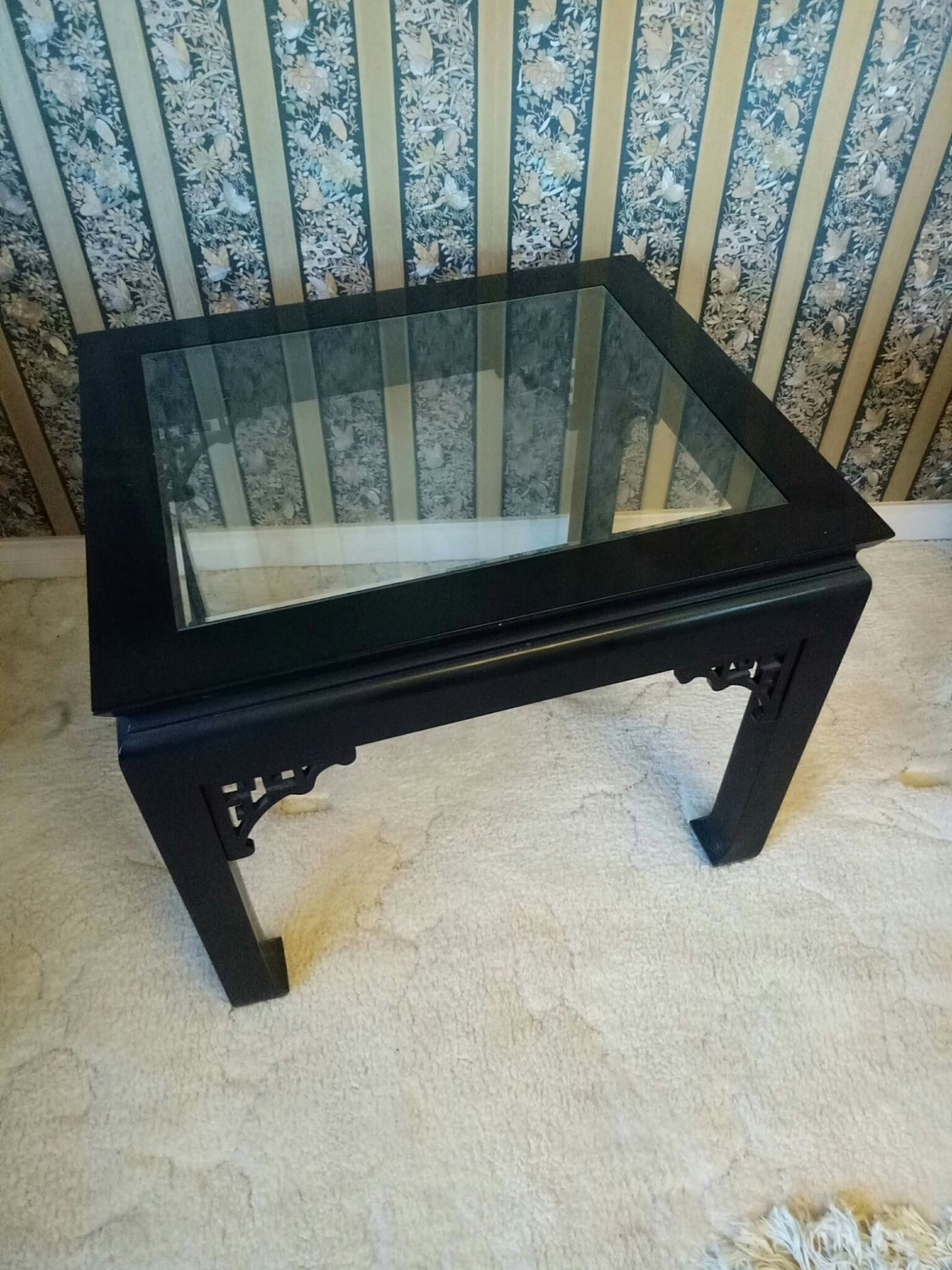 Pair Black Laquer End Tables Oriental style-314-231b
