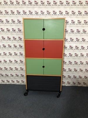 Ikea Fächerschrank Aktenchrank 4 OH Farbig / Buche auf Rollen