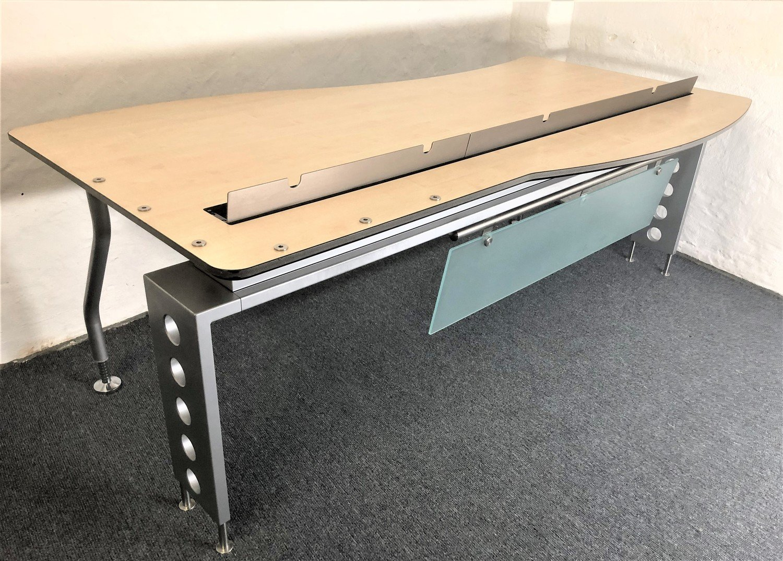 Schreibtisch Empfangstisch Steelcase Ahorn mit Schwung Freiform