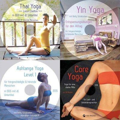 4 Yoga DVDs - In Gebärdensprache und Untertitel