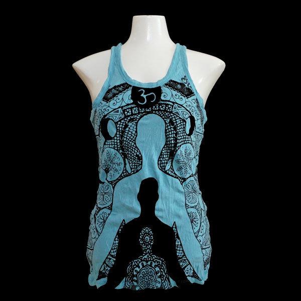 "SURE Tank Shirt  ""Mit Yoga bist du ewig"" - Hellblau T013"