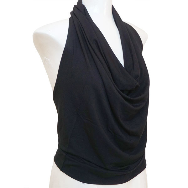 Yoga Falten-Shirt - Schwarz F01
