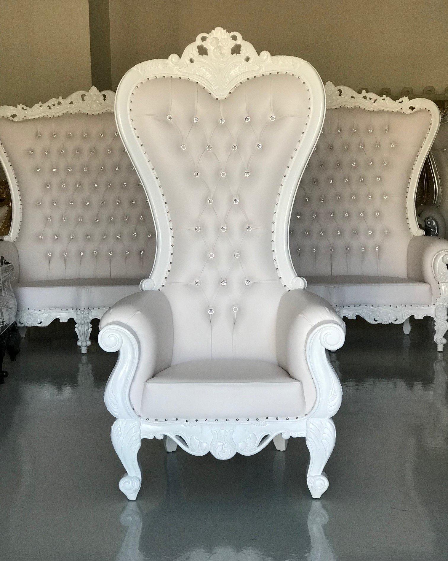 ME high back throne chair white white