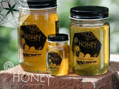 Camano Island sourced Honey *Available for Pick-Up or Local Delivery.  In 3 oz Baby Mason, 16 oz Family size and the Large Honey Addict 24 oz jars