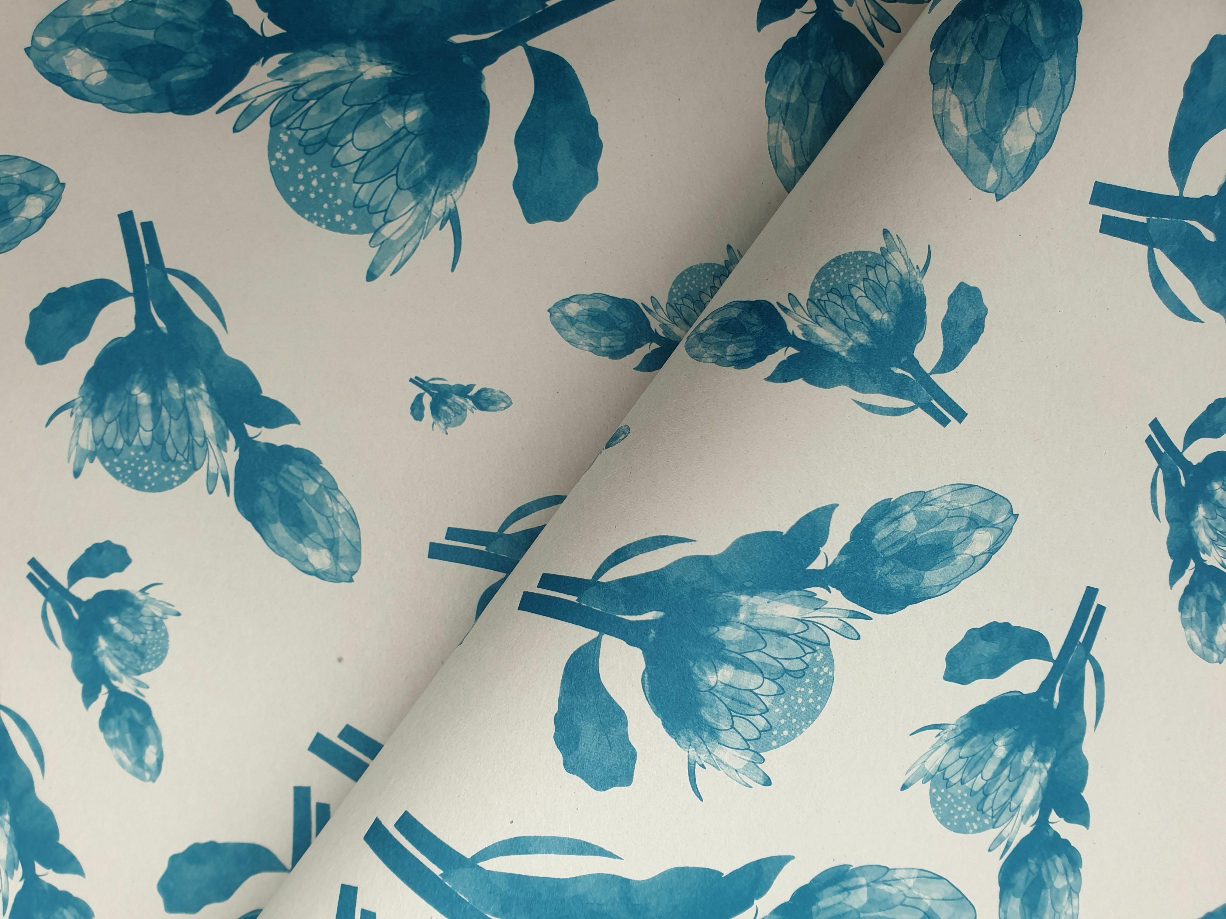 Bespoke Newsprint Reams 420 x 594 Protea Blue (200 sht) BNPPB