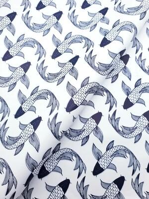 Tissue Paper - Fish - Navy On White (Qty 25)