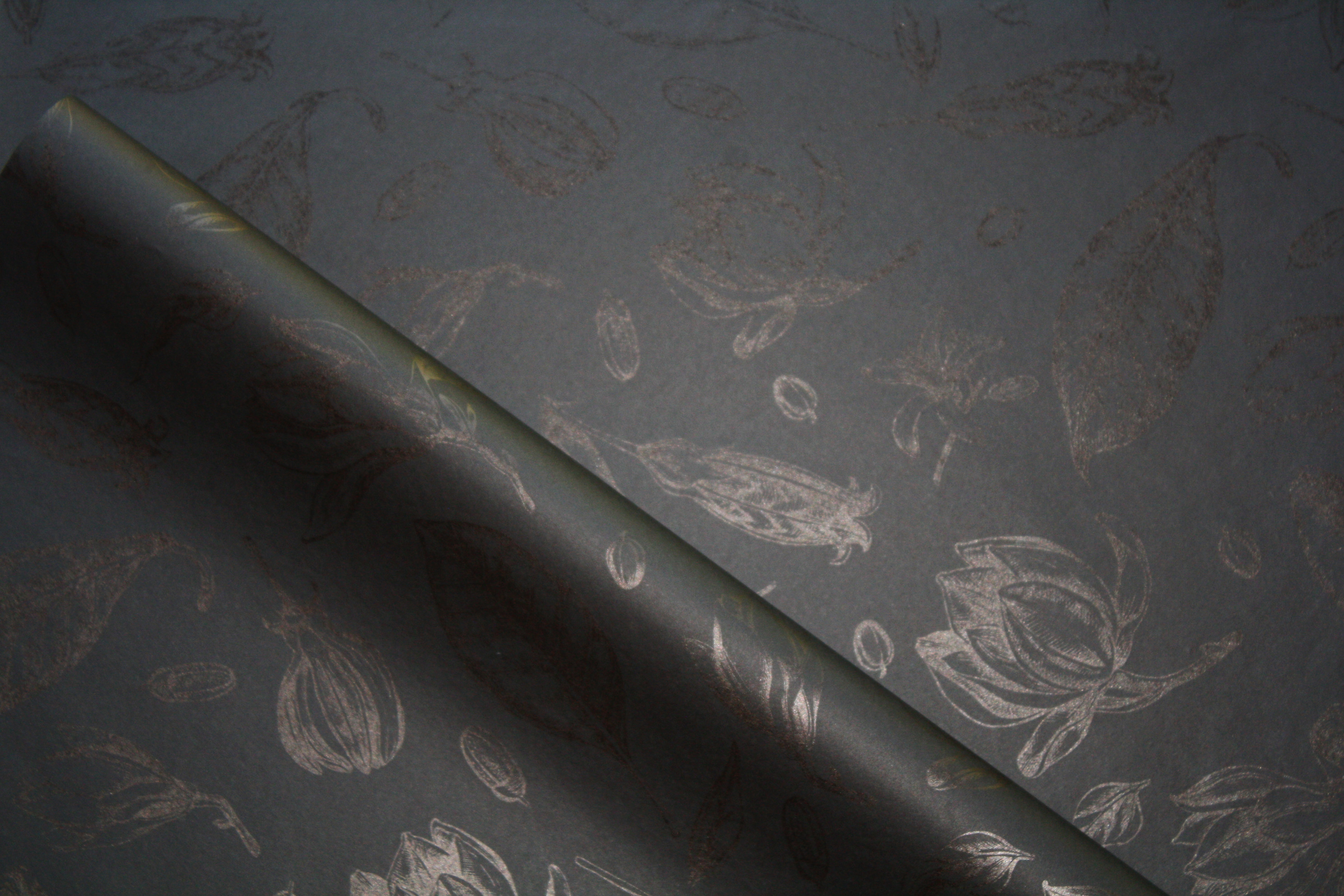 Tissue Paper - Vintage Flowers - Black On Black (Qty 25) TPVFOB