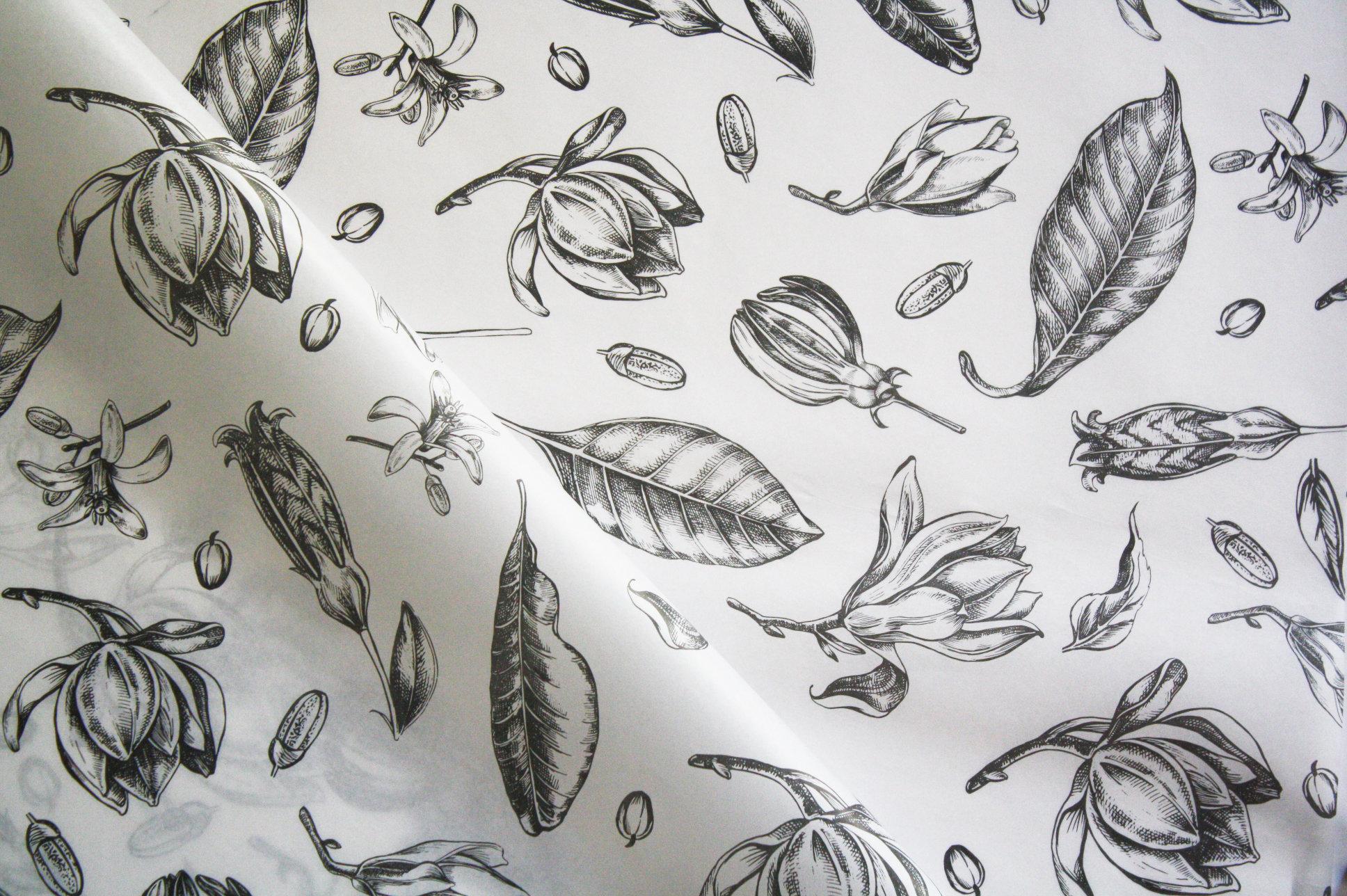 Tissue Paper- Vintage Flowers - Black On White (Qty 25) TPVF