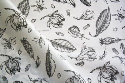 Tissue Paper- Vintage Flowers - Black On White (Qty 25)