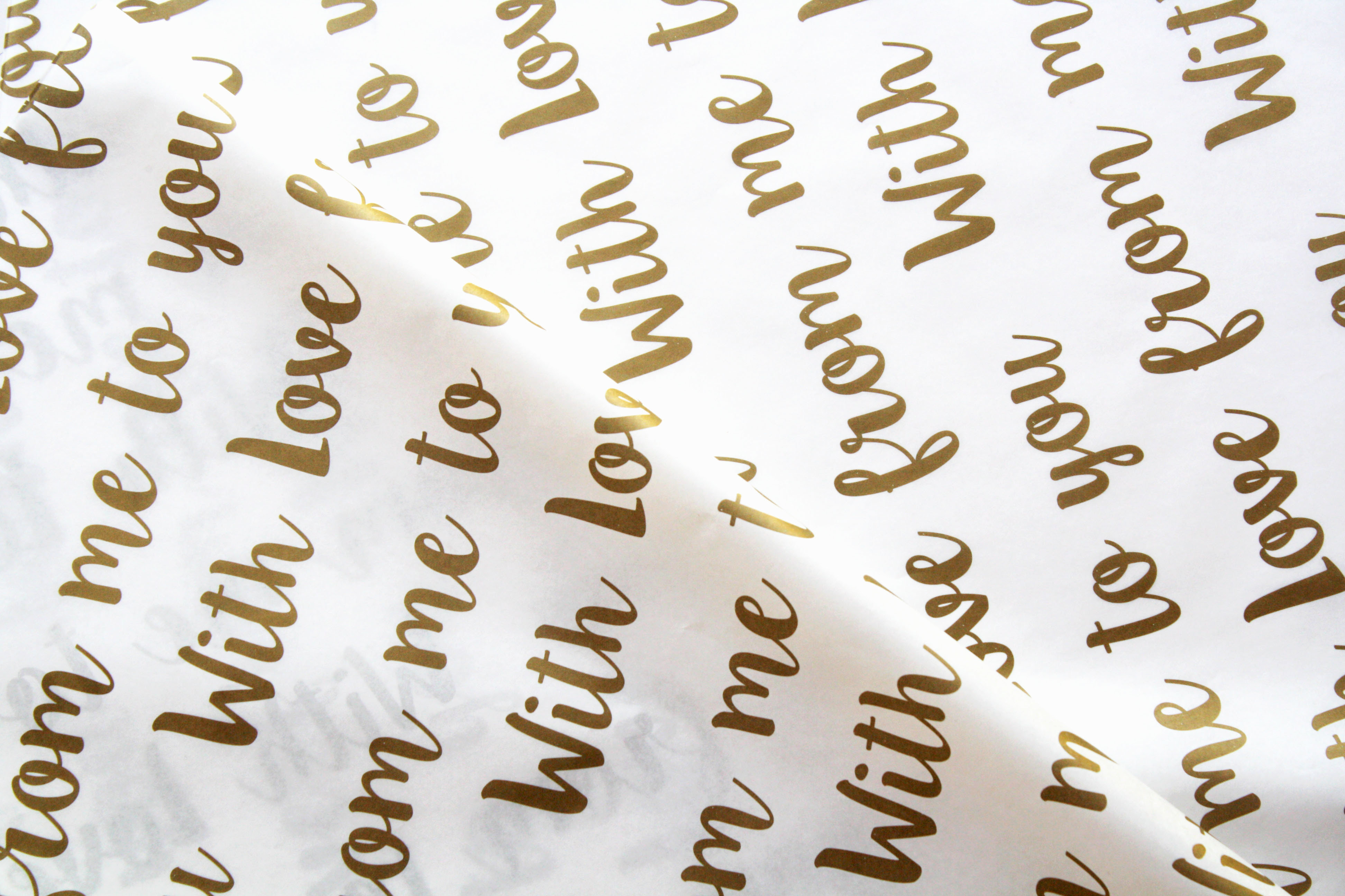 Tissue Paper- With Love - Gold On White (Qty 25) 015TPWL
