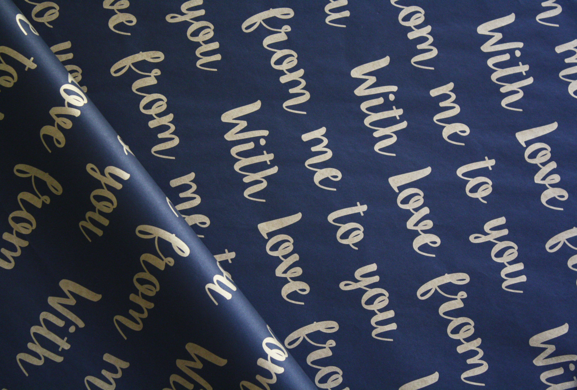 Tissue Paper- With Love  - Gold On Black (Qty 25) TPWLGB