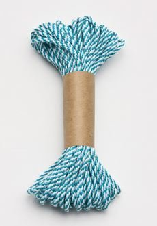 Bakers Twine 10 m x 2 mm - Teal & White (ea) 00029