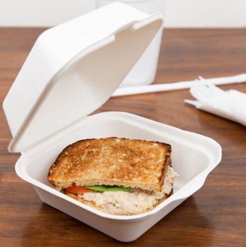 E - Compostable Clamshell Burger Box 6 (Qty 50)